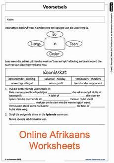 grade 7 online afrikaans voorsetsels worksheets for more