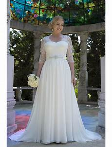 informal lace chiffon modest plus size wedding dresses with 3 4 sleeves 2017 big size reception