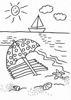 Malvorlagen Urlaub Strand Schule Kostenlose Malvorlage Sommer Sonnenschirm Ausmalen Zum