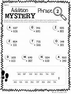 multi digits addition and subtraction worksheet math mystery phrases pack 3 digit pre k 8