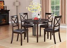 5pc set round dinette kitchen dining table with 4 faux