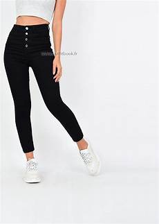 jean taille haute noir avec boutons outfitbook