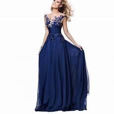 robe de bal robe de soir 233 e longue bleu dentelle applique robe de
