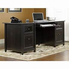 black home office furniture collections sauder edge water estate black desk 409042 the home depot