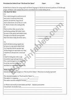 poetry analysis worksheet for the road not taken 25514 the road not taken analysis esl worksheet by jkronfeld