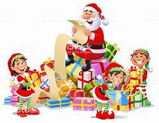 cadeau pere noel santa claus and elves with a pile of presents