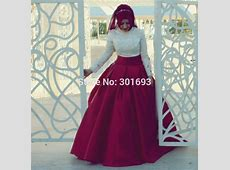 Oumeiya OW521 Ivory Lace Top Burgundy Satin Skirt Two
