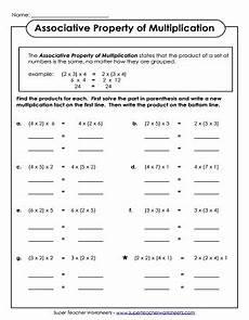 properties of multiplication worksheets
