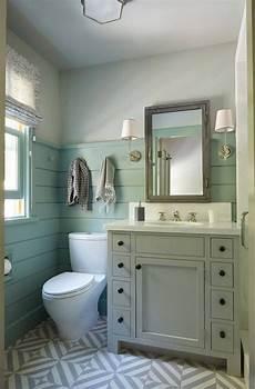 sea blue bathroom with practical vanity farmhouse style