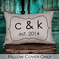personalized wedding gift burlap pillow cover pillow with