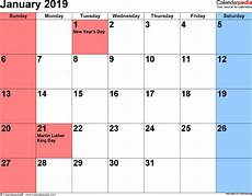 jan 2019 calendar january 2019 calendars for word excel pdf