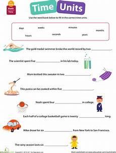time units worksheet education