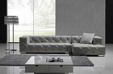 Grey Italian Leather Modern Sectional Sofa W Crystals