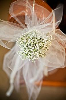 pew bows with tulle and baby s breath flowers by baby s breath and tulle bow pew markers also have seen