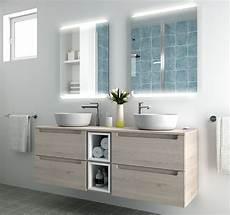 mobili bagno legno naturale composizione doppio mobile bagno con lavabo da appoggio