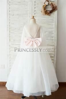 ivory lace tulle long sleeves v back wedding tutu flower