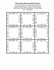 factoring polynomials square puzzle gcse math maths algebra algebra activities