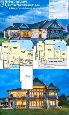 lake house plans for sloping lots plan 95034rw craftsman house plan with dramatic views in