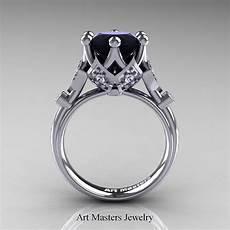 modern 14k white gold 3 0 carat black and white diamond solitaire wedding ring r514s
