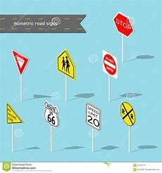 Malvorlagen Verkehrsschilder Quadratisch Set Verkehrsschilder Isometrische Der