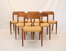 Teak Dining Room Chairs four teak dining chairs niels moller 75 at 1stdibs