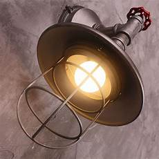 industrial loft one light grey metal cone shade with wire cage wall sconce l ebay