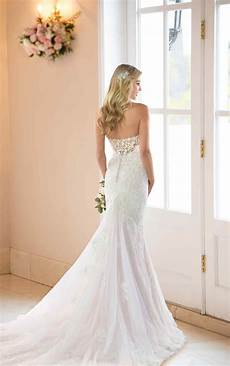 french lace wedding dress with scalloped train stella