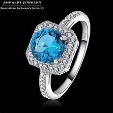 anfasni s925 2017 fashion jewelry rings zirconia inlayed blue stone square engagement rings