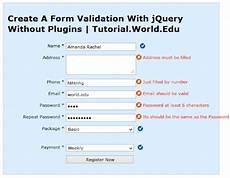 create a form validation with jquery without plugins online website design tutorialsonline