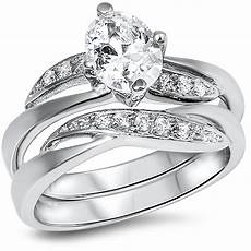 fine cz wedding engagement 925 sterling silver ring