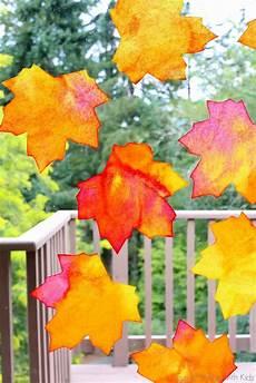Herbst Basteln Kinder Fenster - fall window leaf suncatchers free printable