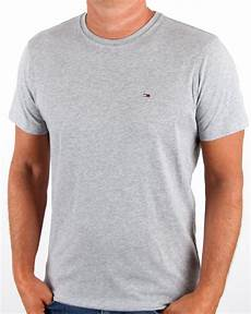 hilfiger crew neck t shirt light grey 80s casual