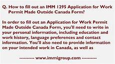 how to fill out an imm 1295 application for work permit made outside canada form youtube