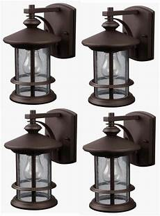 4 bronze outdoor wall lantern lights exterior sconce seeded glass lot ebay