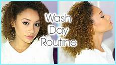 my curly hair wash day routine cleaning conditioning detangling youtube