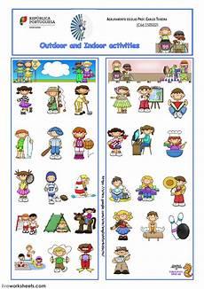 indoor outdoor activities and sports interactive worksheet
