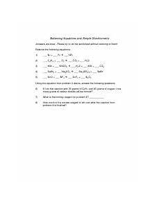 balancing equations and stoichiometry worksheet balancing equations and stoichiometry answers