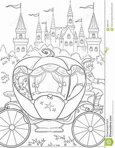 coloring pumpkin cinderella s carriage vector illustration