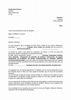 lettre de résiliation contrat d assurance lettre de r 233 siliation de contrat d assurance automobile changement de situation personnelle
