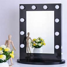 black vanity lighted makeup mirror with dimmer