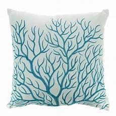 coussin brod 233 blanc et bleu 40x40cm turquoise corail
