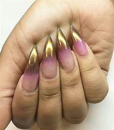 gold and pink nails metallic nails chrome nails