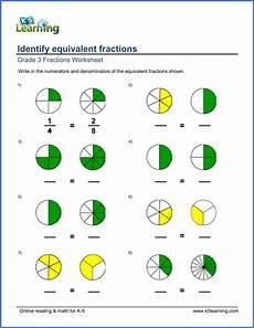 equivalent fraction worksheets grade 3 3916 grade 3 math worksheets identify equivalent fractions k5 learning