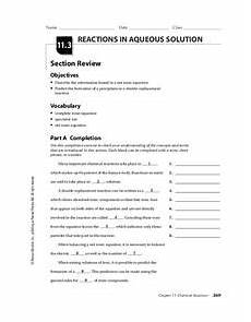 reactions in aqueous solutions worksheet for 9th 12th grade lesson planet