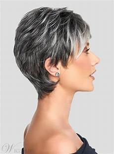 salt and pepper short layered synthetic capless black wigs wigsbuy com