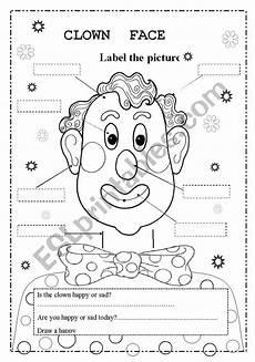 clown face esl worksheet by valleygirl