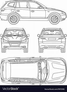 car suv 4x4 line draw rent damage condition vector image