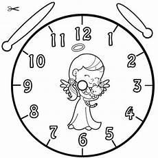 Uhr Malvorlagen Kostenlose Malvorlage Uhrzeit Lernen Ausmalbild Engel Zum