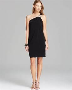 michael michael kors one shoulder dress in black black