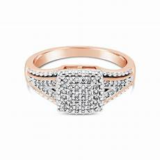 9ct rose gold diamond square cluster ring nwj